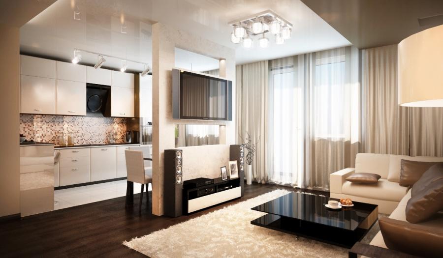 Дизайн квартиры гостиная кухня